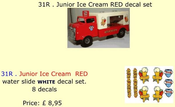 31R . Tri-ang Junior Ice Cream RED decal set
